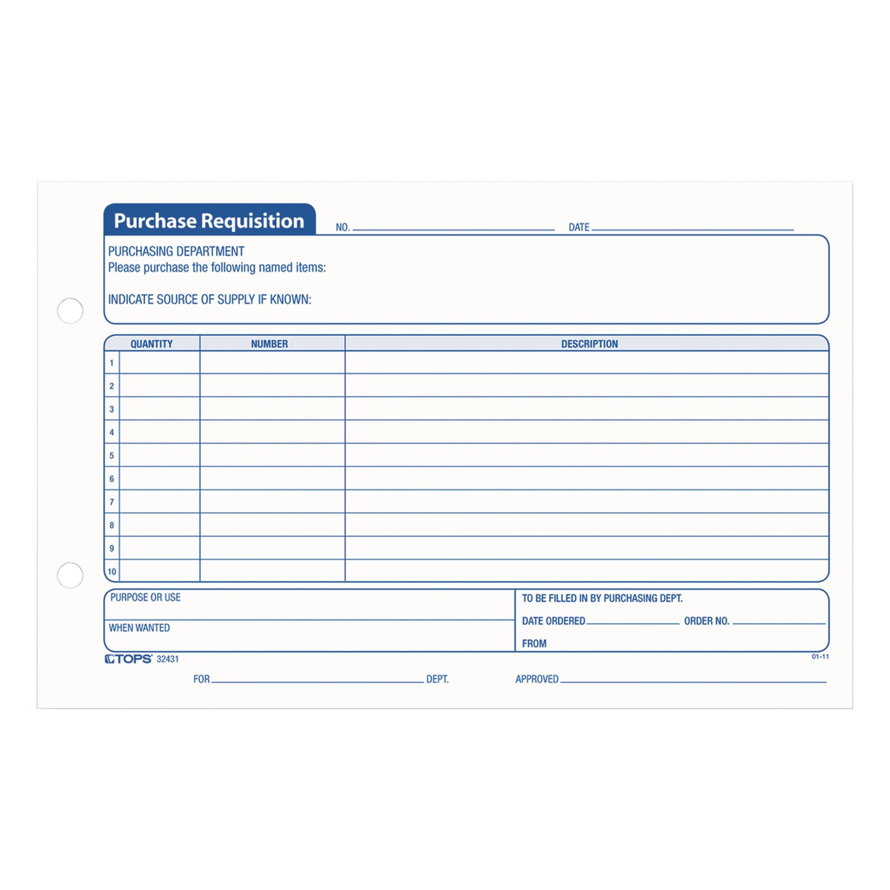 TOPS Purchase Requisition Pad, 10 Lines, 5.5 x 8 Inches, 100 Sheets per Pad, 2 Pads/Pack (32431)