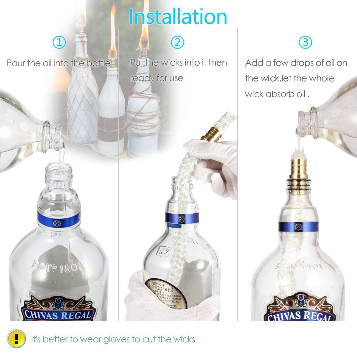 Lanmu Wine Bottle Tiki Wicks Oil Lamps Tabletop Torch