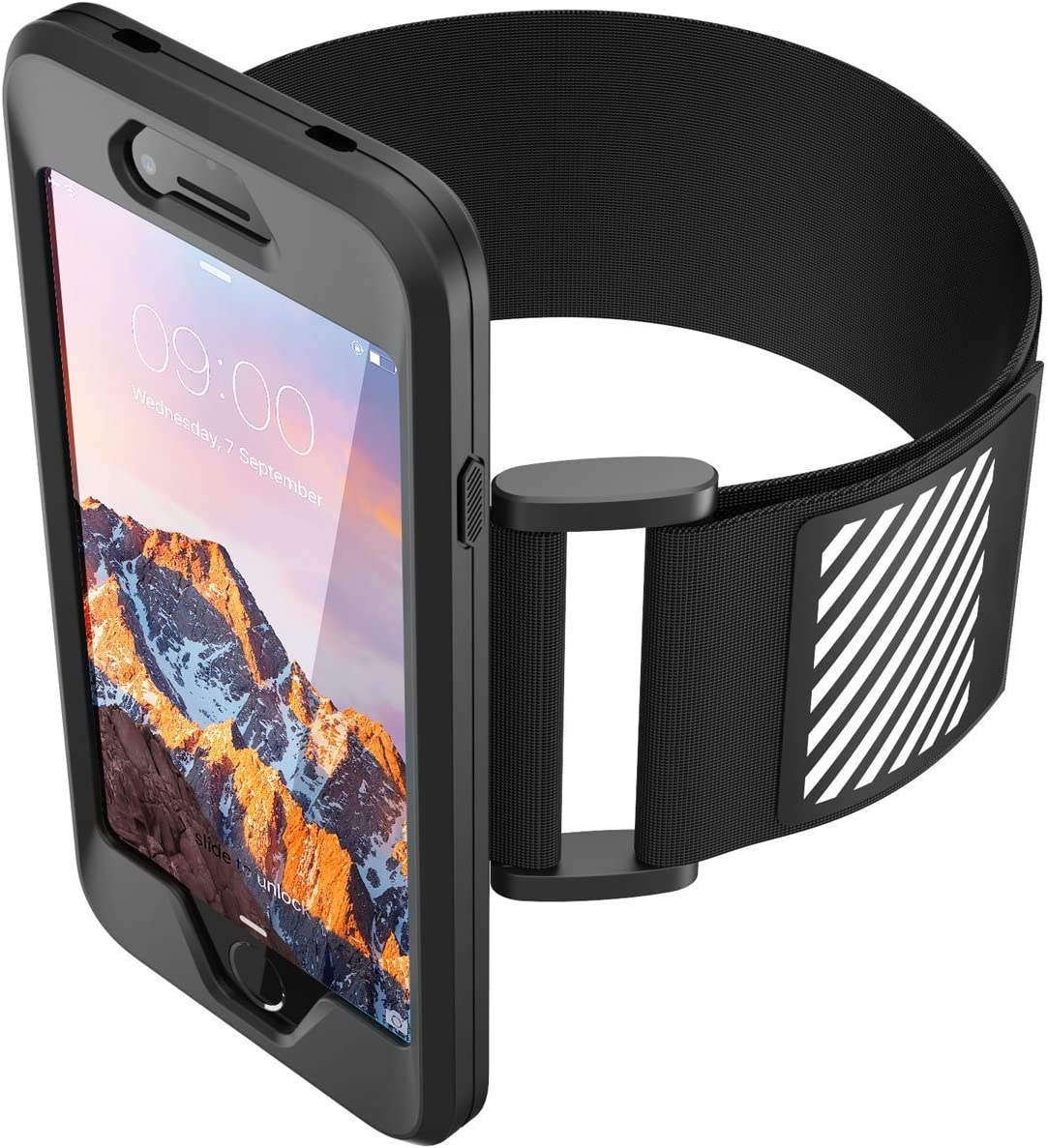 EX1 Silicone Phone Holder Armband Reflective Strip Sport Running for Apple iPhone 7 Black