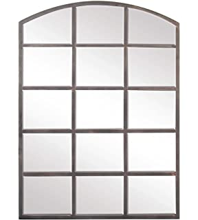 f4d6f3d6c69d Deco 79 53393 Modern Wood and Iron Arched Window Paneled Glass Wall Mirror