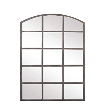 Deco 79 53393 Modern Wood and Iron Arched Window Paneled Glass Wall Mirror, 40  X 30