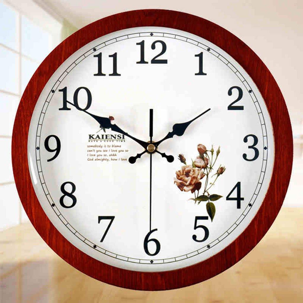 Meters Runde hölzerne hölzerne Uhren Wohnzimmer stumme Wanduhren Kinderzimmer einfache Uhren. (Farbe : 6001A Brown)