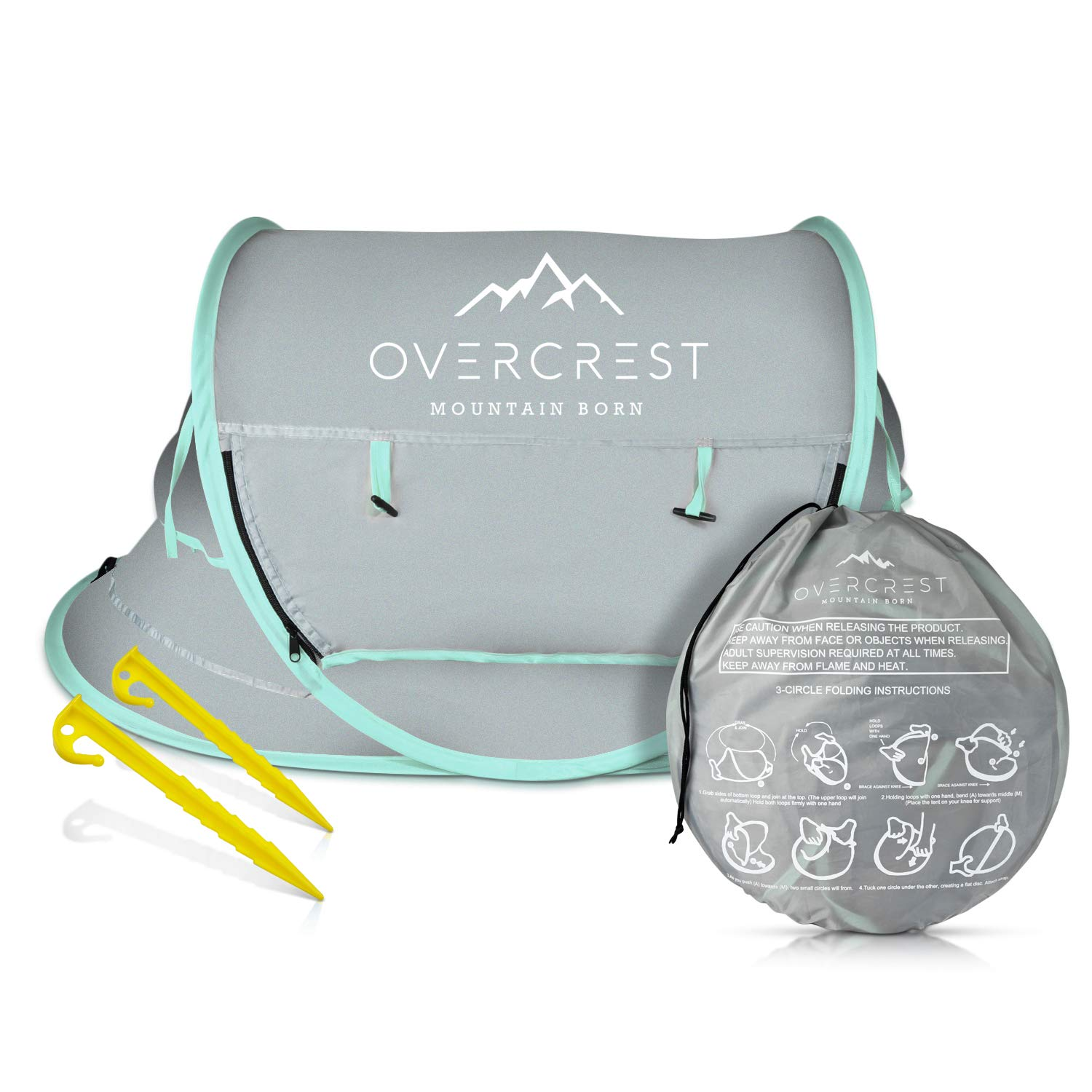Overcrest Portable Beach Pop up Tent Babies, UPF 50+, Large Sun Shelter Infant Babies, Mosquito Net Sunshade, Lightweight Outdoor Travel Baby Crib Bed (Mint) by Overcrest