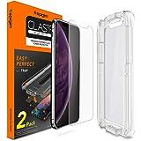 Spigen Vidrio Cristal Templado para iPhone XS MAX, Tempered Glass Screen Protector [Tipo de Apertura del Sensor] Designed for Apple iPhone XS MAX (2018) - Glas.TR EZ Fit (2 Pack)