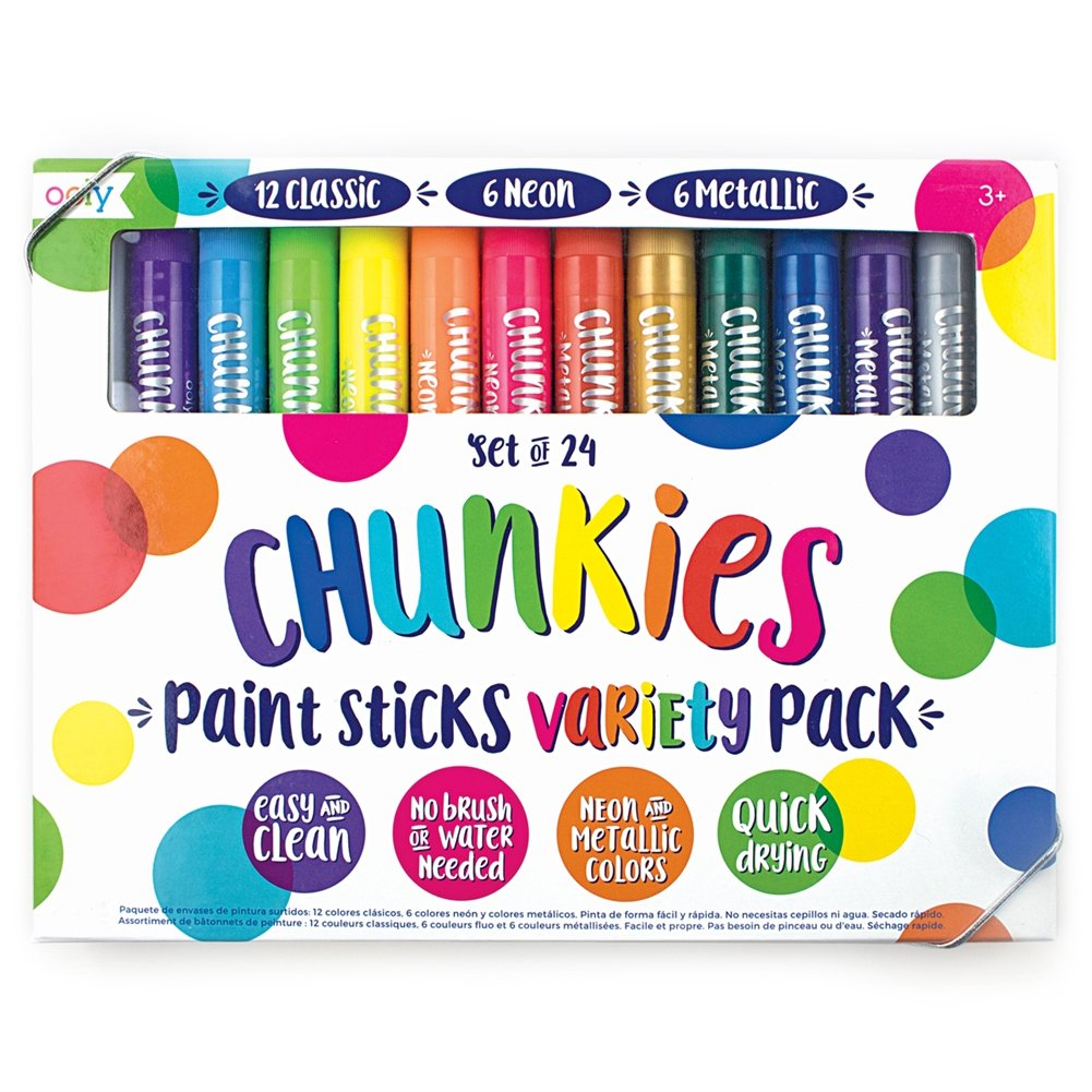 OOLY Chunkies Paint Sticks Variety Pack, 3 x Set of 24 (72 Crayons Total), Classic Neon & Metallic Colors by OOLY (Image #2)