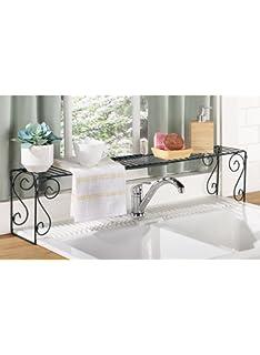 Amazon.com - Expandable Scroll Metal Over The Sink Shelf - Black ...