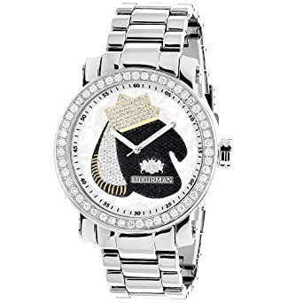 55311a81b84 Image Unavailable. Image not available for. Color  LUXURMAN Mens Diamond  Watch ...