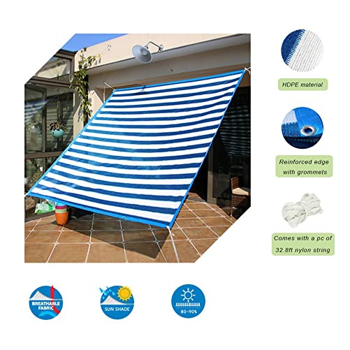 Insun Stripes Print Shade Cloth with Grommets Blue 90 Sunblock HDPE Shade Cloth for Plants 6.6ft16.4ft