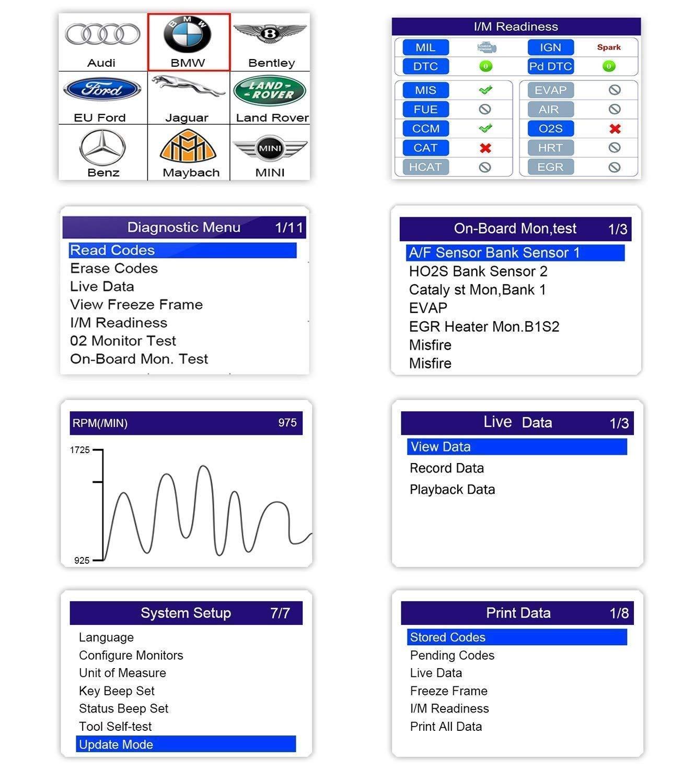 KZYEE KC501 Lettore di Codice OBD-II con ABS SRS EOBD Scanner Diagnostico Automobilistico 11 Moduli di Codici di Controllo dei Problemi per Veicoli con Motore a Benzina o a Diesel Soprattutto per SUV