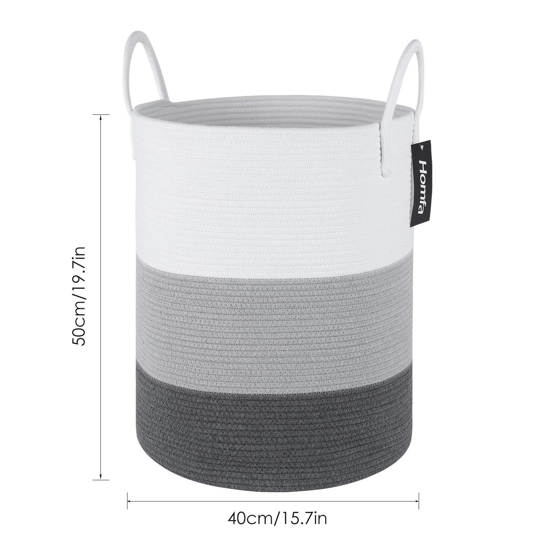 Homfa Wäschekorb 2er Set Aufbewahrungskorb aus Baumwollseil mit Griffen faltbar Weiß Grau