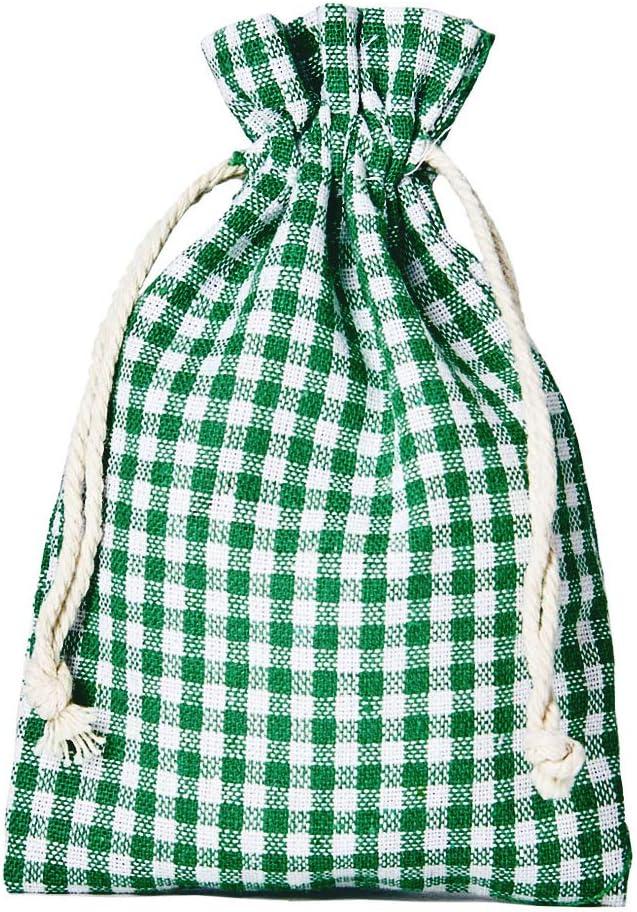 12 bolsitas de algodón, bolsas de algodón estilo rústico, tamaño 14 x 10 cm, elemento decorativo, decoración romántica, a cuadros, verde-blanco