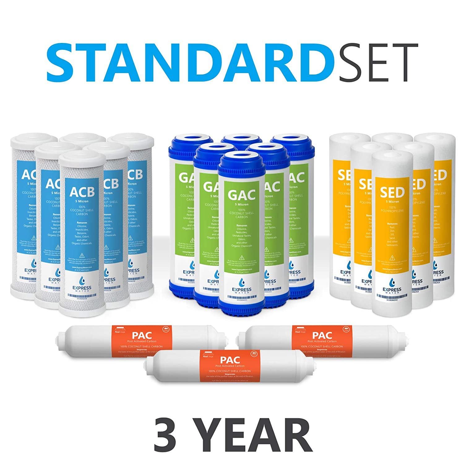 Express Water – Reverse Osmosis and Under Sink System Replacement Filter Set – 21 Filters with Carbon (GAC, ACB, PAC) Filters, Sediment (SED) Filters – 10 inch Standard Size Water Filters