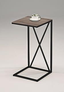 Reclaimed Wood Look Finish Black Frame Snack Side End Table X Design