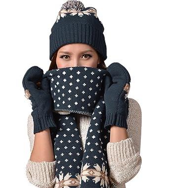 4f5649d4692f0d Vimeet Damen Warme Winter Mütze Schal Handschuh Set Wintermütze Gestrickt  Beanie Mütze Wollmütze Strickmütze Earflap Hut