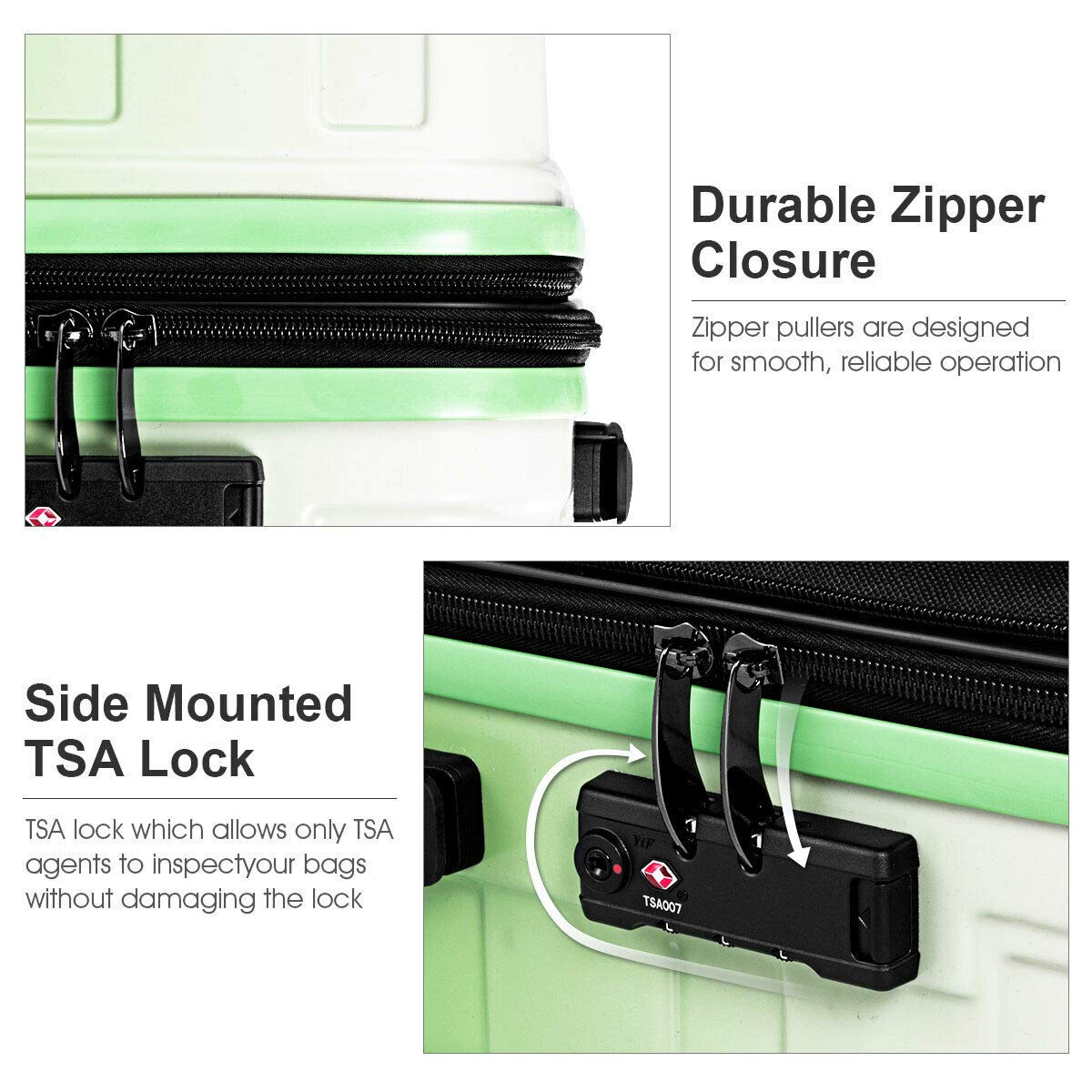 Travel Luggage Set Expandable Suitcase PC+ABS 360/° Multi-Directional Spinner With TSA Lock Green Perfect for Businesses of 3