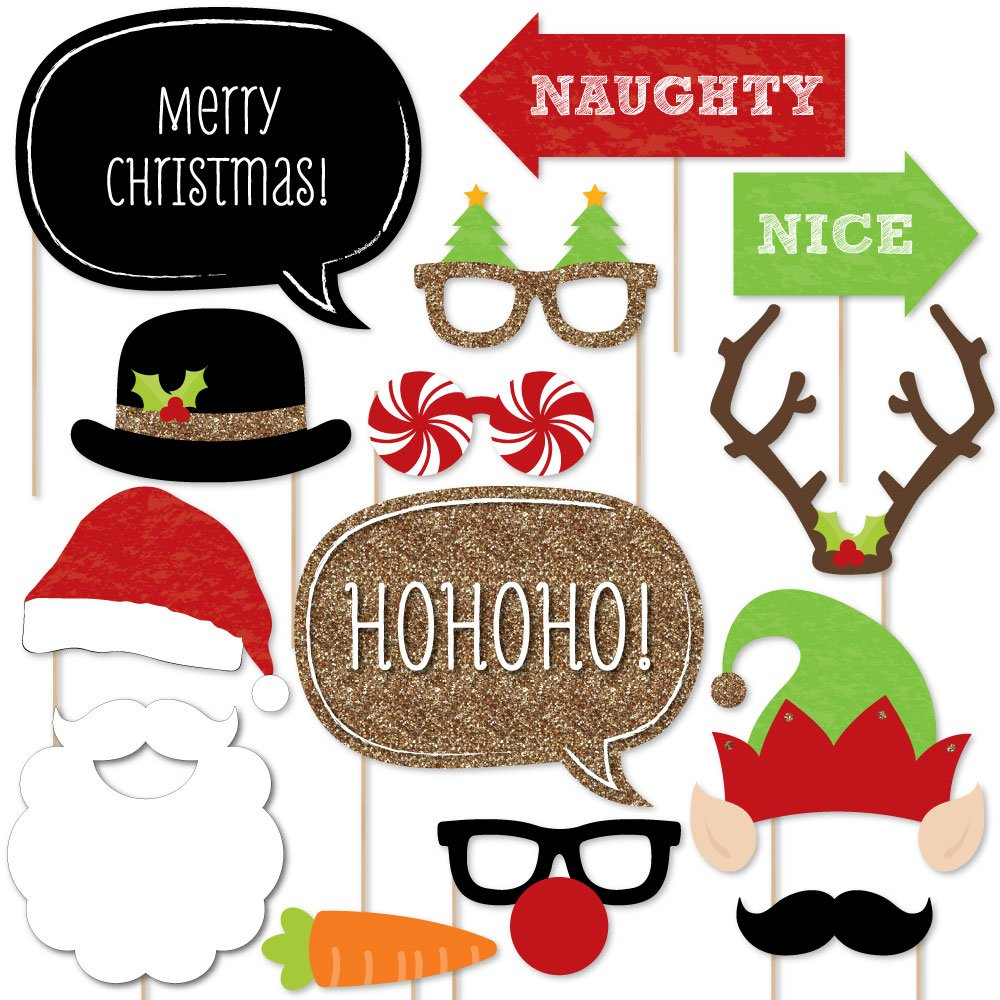 Amazon.com: Christmas Party - Photo Booth Props Kit - 20 Count: Toys ...