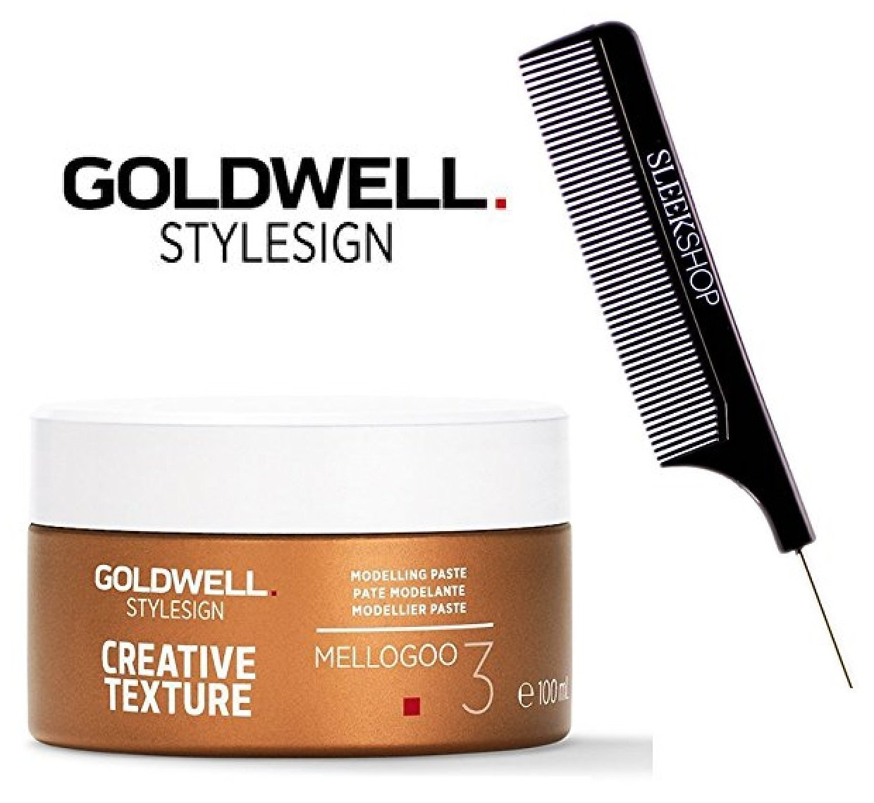 Goldwell Stylesign Creative Texture Mellogoo 3 Modeling Paste- 3.3oz (with Sleek Steel Pin Tail Comb) BHBUKPPOAZIN1466