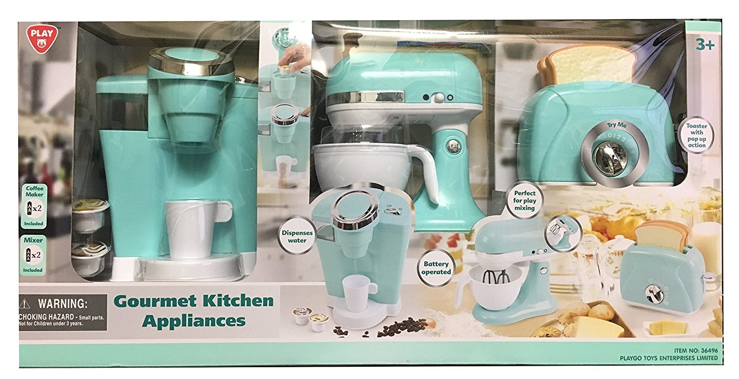 Amazon.com: Playgo Childrenu0027s Gourmet Kitchen Appliances Playset  Battery  Operated Mixer, Water Dispensing Coffee Maker, And Pop Up Toaster (Aqua):  Toys U0026 ...