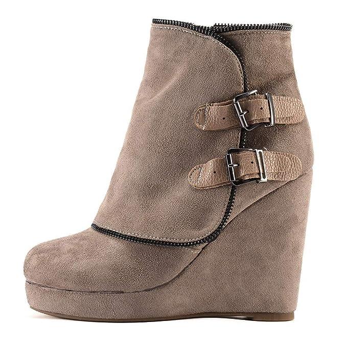 Botas de cuña Retro para Mujer, cinturón de Invierno, Calzado Antideslizante,