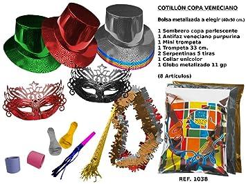 CAPRILO Lote de 6 Bolsas de Cotillones Decorativas Sombrero Copa Veneciano. Cotillón  para Fiestas y 3b527101d8d