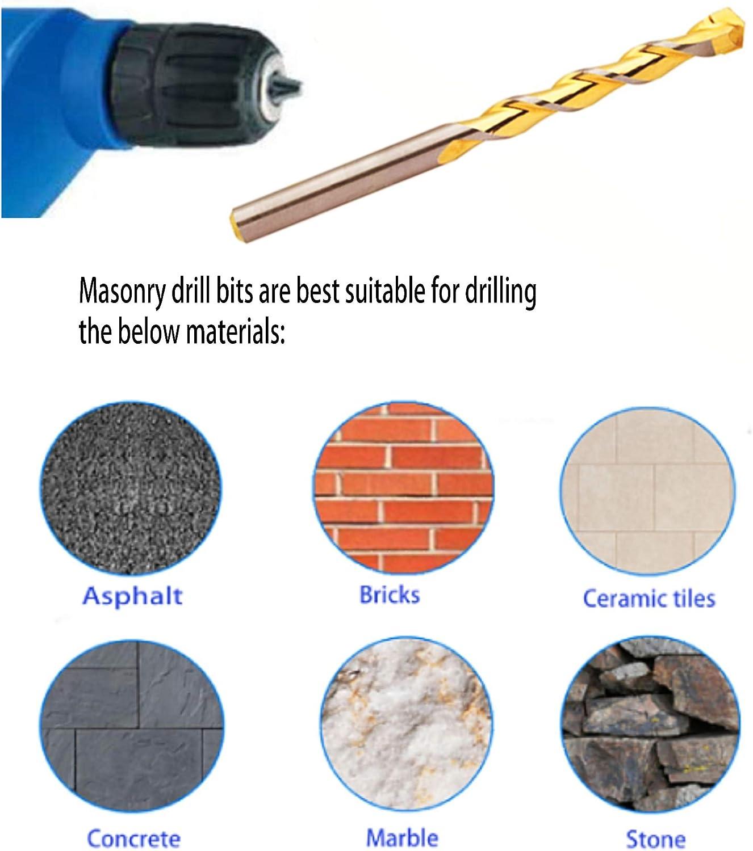 Mason road wall 1//8-10PCS Stone construction pavement Bricks PEAKDRILL 10Pcs 1//8 Tungsten Carbide Masonry Drill Bits Set Golden Flute Concrete Drill Bits Drill Concrete ceramic Tiles