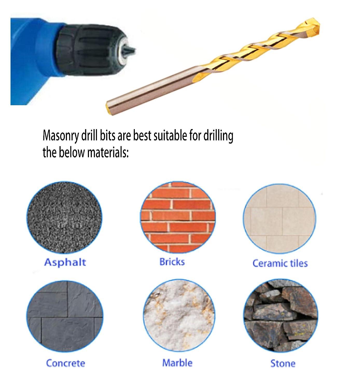 construction 3//16-20PCS wall road pavement ceramic Tiles Bricks Stone Mason PEAKDRILL 3//16 Tungsten Carbide Masonry Drill Bits Set Golden Flute Concrete Drill Bits Drill Concrete