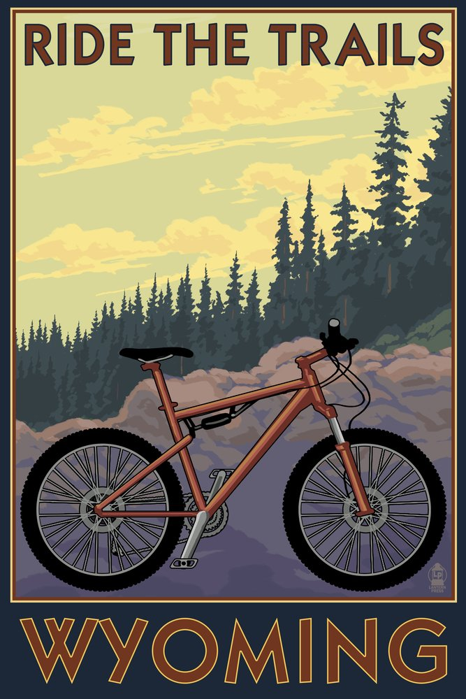 Wyoming - Ride the Trails (24x36 Giclee Gallery Print, Wall Decor Travel Poster)