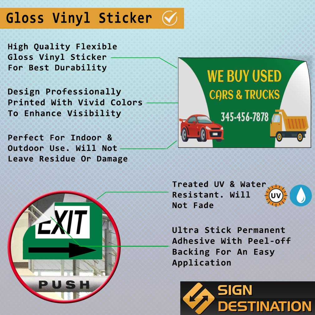Custom Door Decals Vinyl Stickers Multiple Sizes Used Cars and Trucks Phone Number B Business We Buy Signs Outdoor Luggage /& Bumper Stickers for Cars Green 20X14Inches Set of 10
