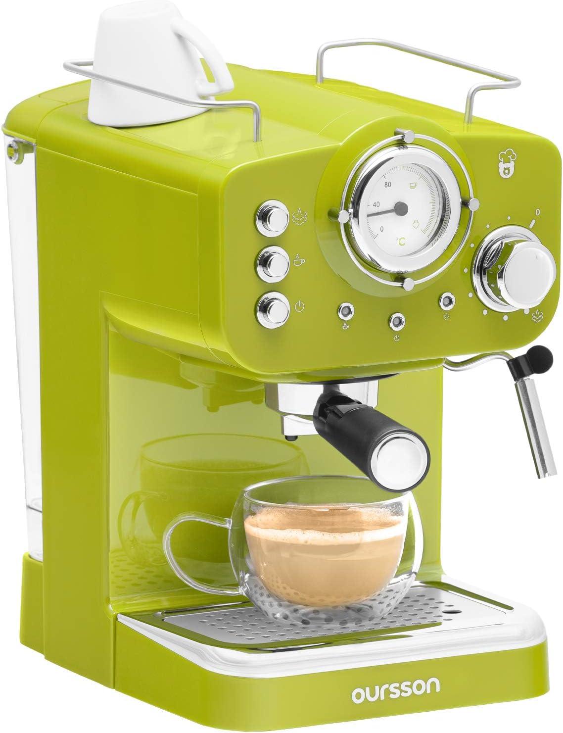 Oursson Máquina de Café Espresso - Cappuccino, Retro, 15 Bares, Vaporizador Orientable, Capacidad 1.25 l, Café Molido, EM1500 Serie (Verde): Amazon.es: Hogar
