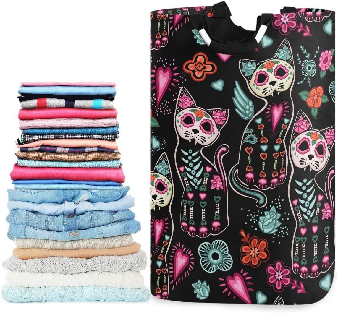 visesunny Collapsible Laundry Basket Sugar Skull Cat Flower Floral Large Laundry Hamper with Handle Toys and Clothing Organization for Bathroom, Bedroom, Home, Dorm, Travel