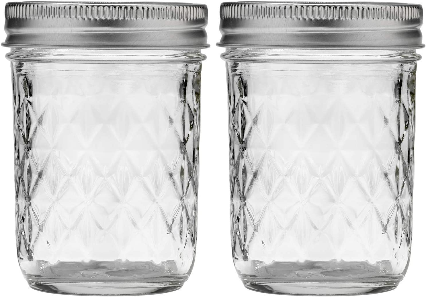 Ball Quilted Crystal Regular Mouth 8 oz Jelly Mason Jars with Lids and Bands (Set of 2)