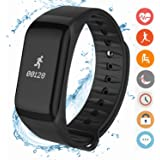 Fitness Tracker, Coolfoxx CF01 Activity Tracker Smart Braceler con cardiofrequenzimetro, contapassi, calorie Sleep Monitor, impermeabile Smartwatch per iPhone X / 8/7 / 6s / 6, Samsung, Huawei (nero)