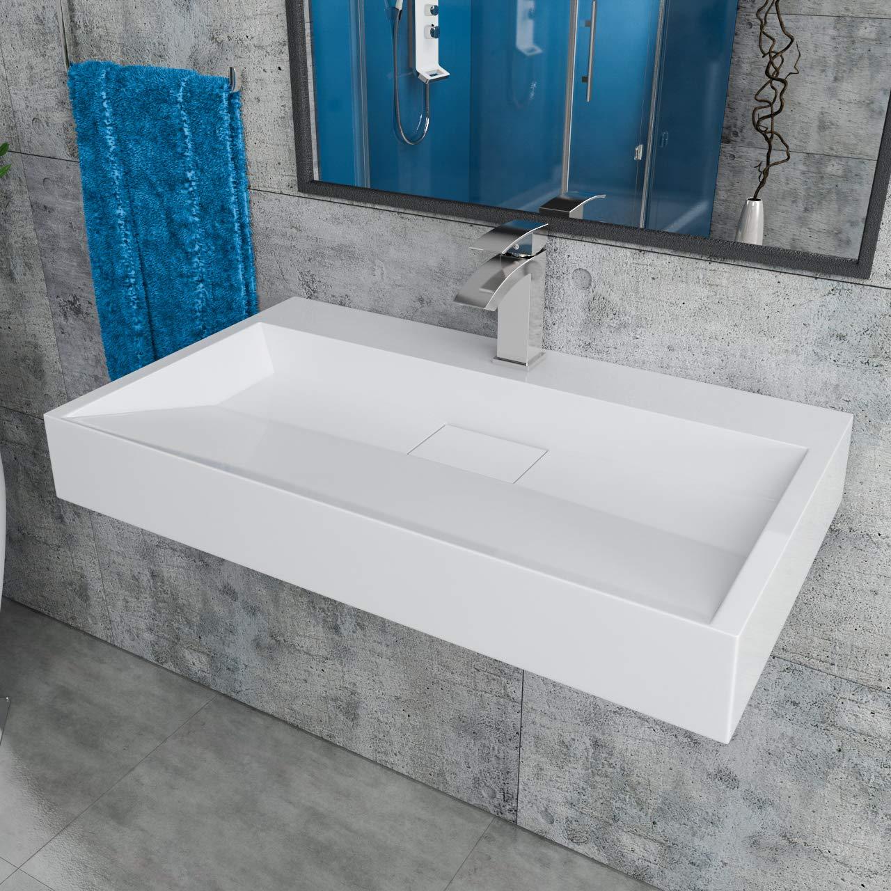 Design Mineralgusswaschtisch Waschbecken Aufsatzwaschtisch Aufsatzwaschbecken aus Mineralguss wandhängend eckig 80x46x11cm CLS19-800