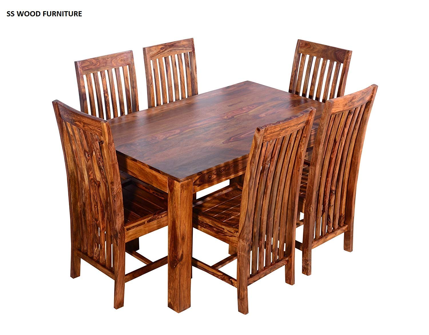 Ss Wood Furniture Six Seater Solid Wood Dining Table Teak Finish
