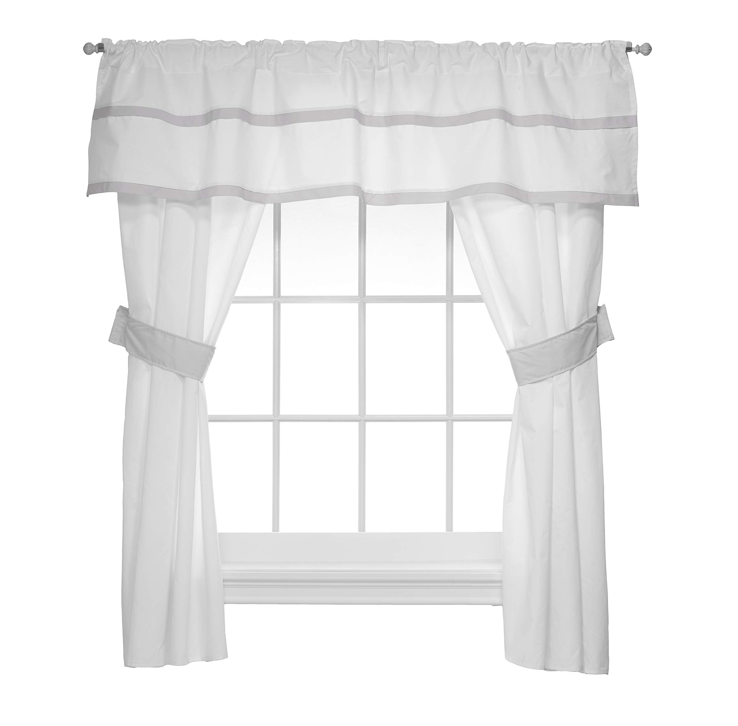 Baby Doll Medallion 5 Piece Window Valance and Curtain Set, Grey by Baby Doll