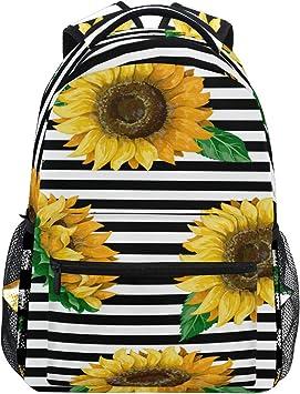 Backpack Rucksack Laptop Bag Shoulder Daypack for Student Flower Sunflower 16x6x11in
