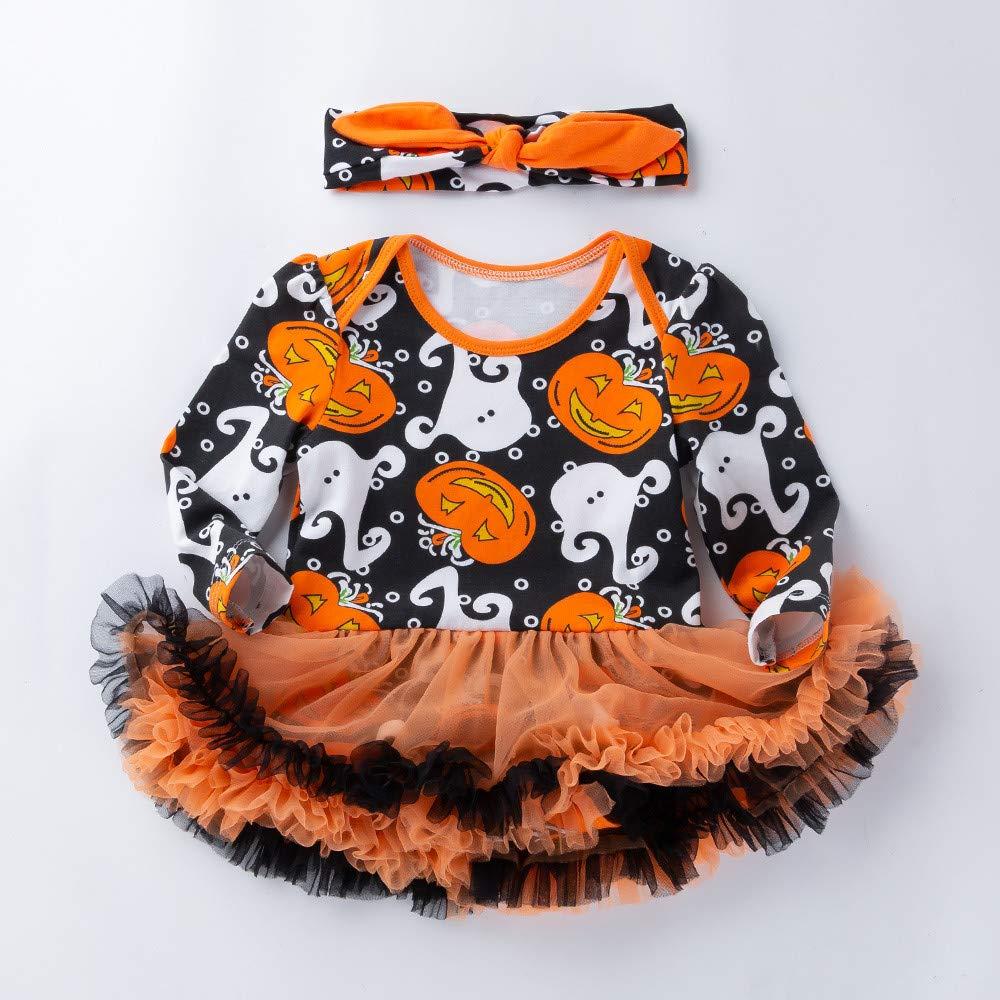 Halloween Girl Outfits,Fineser 2PCS Infant Toddler Baby Girls Pumpkin Print Romper+Bow Headband Clothes Halloween Dresses