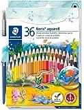 Stadtler crayon de couleur aquarellable Noris Club, formule ABS anti-casse, norme CE EN71, bois certifié PEFC, 36 coloris assortis plus pinceau en étui carton, 144 10NC36