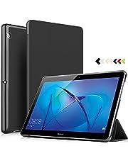 ELTD Huawei MediaPad T3 10/9.6 Coque Housse Étui, Lightweight Flip Smart Case Cover Housse Etui Cuir Coque avec Support pour Huawei MediaPad T3 10/9.6 inch 2018 Model Tablette, Noir