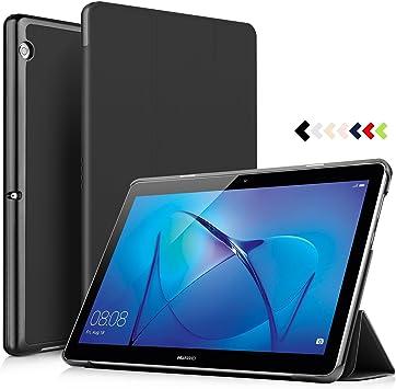 IVSO Huawei MediaPad T3 10 / Huawei MediaPad T3 9.6 Funda Case, Slim Smart Cover Funda Protectora de Cuero PU para Huawei MediaPad T3 10 / Huawei MediaPad T3 9.6 Tablet (Negro): Amazon.es: Electrónica