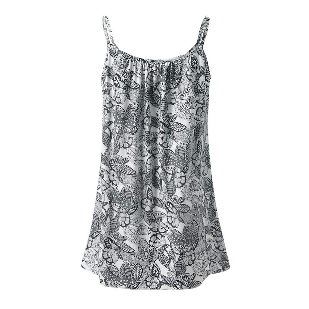 Ladies Flowy V Neck Casual Sexy Summer Tank Top Boho Cami Vest Swing Camisole Sleeveless Tank Tops Dress Plus Size Gray