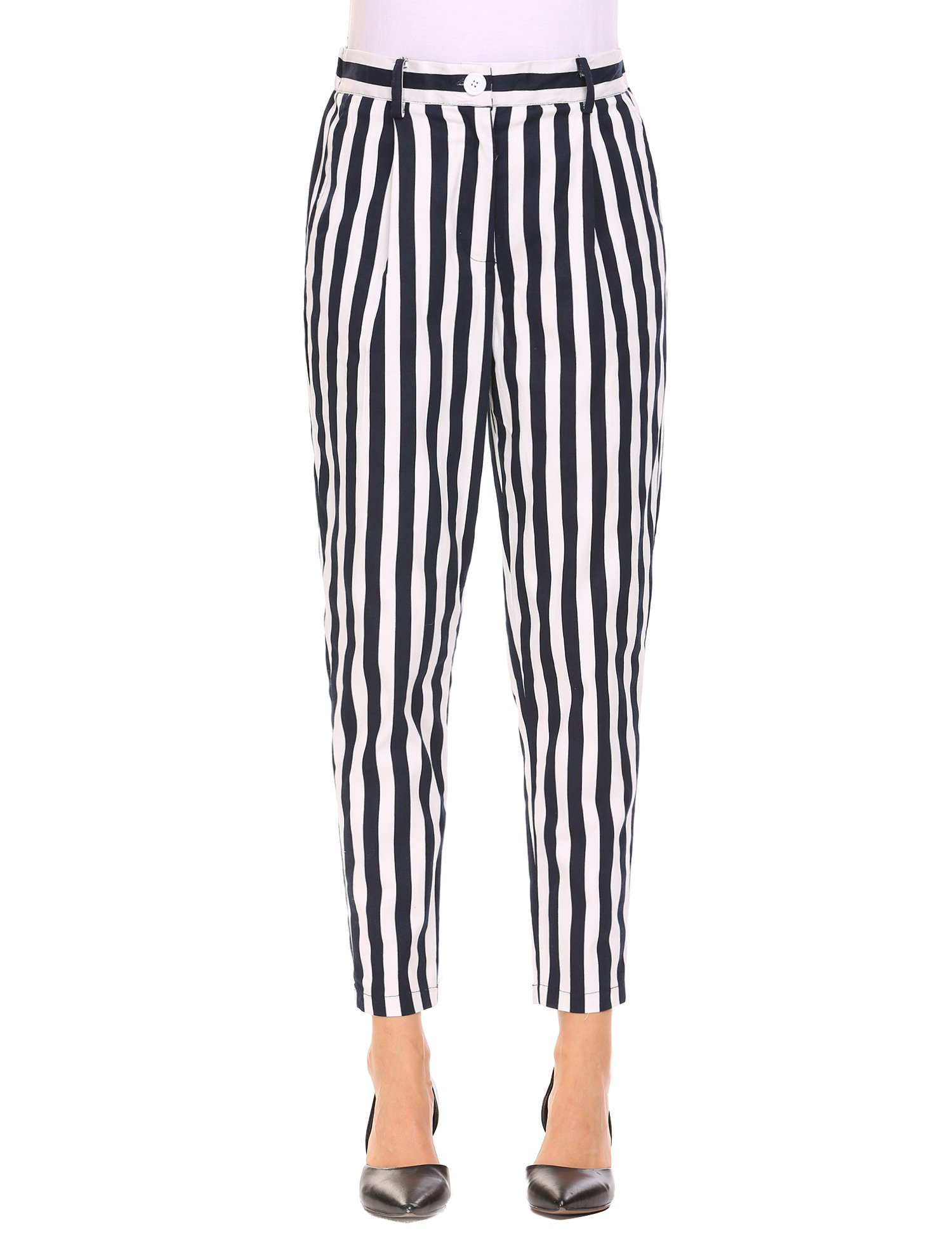 keliqq Women's Casual Striped Skinny Pants Business Harem Pants