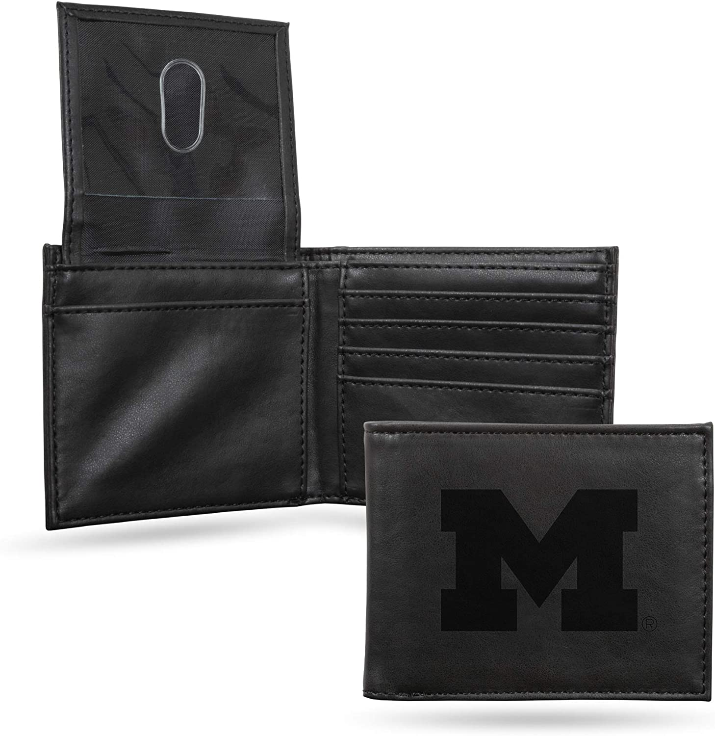 NCAA Rico Industries Laser Engraved Billfold Wallet Michigan Wolverines