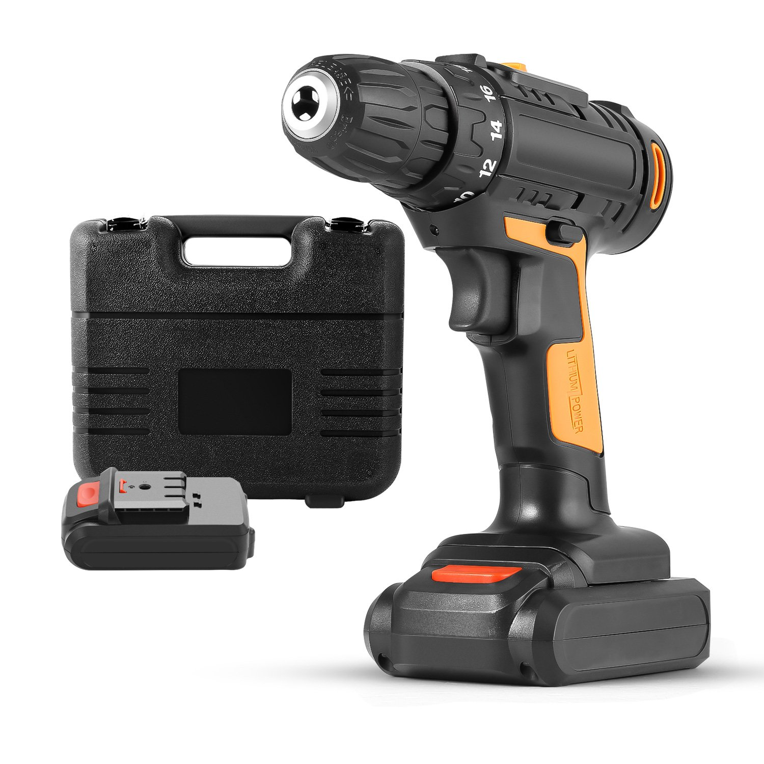 Schafter 21V Double Speed 2 In 1 Cordless Lithium-Ion Compact Drill Driver Kit