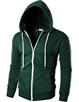 Ohoo Mens Slim Fit Long Sleeve Lightweight Zip-up Hoodie With Kanga Pocket
