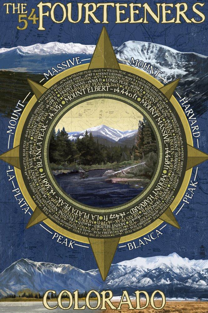 最も優遇 The Fourteeners Wall - Rocky Art Mountain National Park (9x12 Art 36 Print, Wall Decor Travel Poster) by Lantern Press B07B27HFGZ 24 x 36 Signed Art Print 24 x 36 Signed Art Print, ベニヤビューティー:dfe35d95 --- aikurei.co.jp