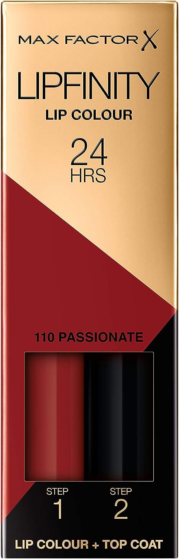Max Factor LipFinity Lip Colour Lipstick, 2-Step Long Lasting, Tono: 110 Passionate, 2.3 ml + 1.9g