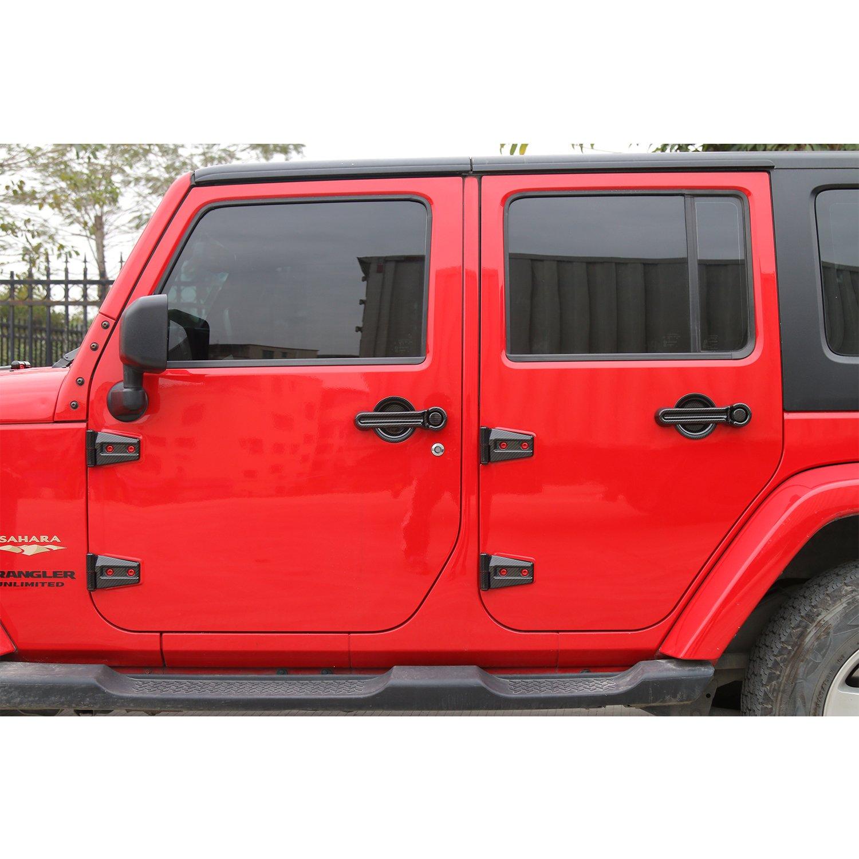 RT-TCZ Door Hinge Covers Trim for 2007-2018 Jeep Wrangler JK 2 Door Carbon Fiber Grain