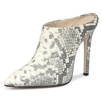 SaintG Womens Grey Python Embossed Leather high Heel Pumps | Pumps