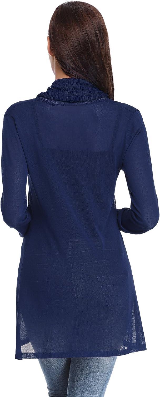 Abollria Waterfall Cardigan for Women Summer Lightweight Long Sleeve Open Front Cardigans
